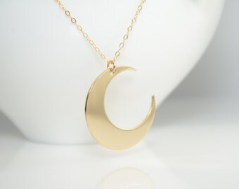 Gold Moon Necklace. Moon Long Necklace. Gold filled Moon Necklace, Large Moon Necklace
