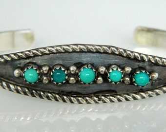Native American Navajo Turquoise Sterling Silver Row Bracelet