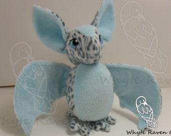Leopard and Blue Bat Plushie Handmade OOAK Plush Minky and Fleece