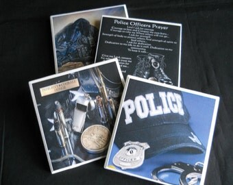 Police Coasters ~ Police Officer ~ Ceramic Tile Coasters ~ Law Enforcement ~ Drink Coasters ~ Gift for Cop  ~  Table Coasters ~ Police Decor
