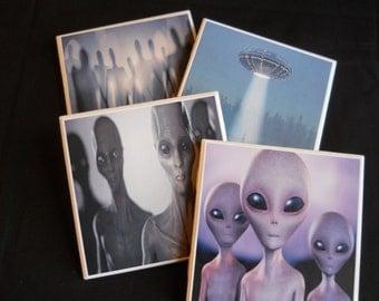 Alien Coasters ~ Aliens ~ Creepy Coasters ~ UFO ~ Spaceship ~ Outer Space ~ Sci Fi Coasters ~ Sci Fi Decor ~ Cool Coasters ~ Drink Coasters