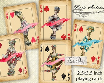 Marie Antoinette playing cards, Desk, Digital Collage Sheet, Whimsical,Instant Download, Digital Paper. Tags