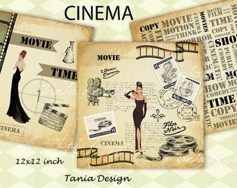 OLD MOVIE - digital Collage Sheet -scrapbooking paper pack 12x12- set of 10 image -instant download digital paper printable