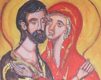 Saints Joachim and St. Anne icon reproduction- Holy Anna and Joaquim art print- Spousal love painting, byzantine orthodox catholic icon