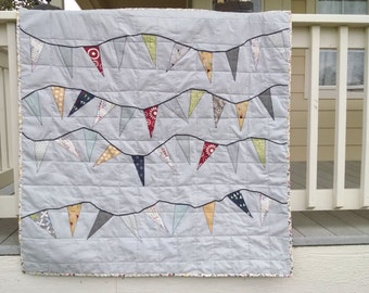 Flag Bunting Child's Quilt Zen Gray, Designed & Quilted by Carolyn Jung