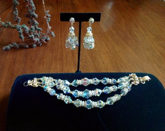 FREE Shipping Gorgeous AB Crystal and Rhinestaone Bracelet and Chandalier Earrings