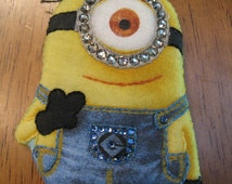 BLING MINION PIN-Carl-Movie Character Brooch-Carl-Wearable Magnetic Pin-Swarovski Crystals-Hand Embroidered-Unique Gift!