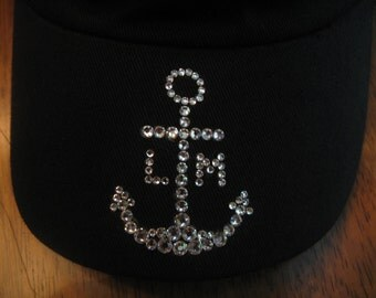 BLING ANCHOR HAT-Your Initials-Customized!-Sparkly Nautical Cadet or Ball Cap-Anchors Away Ladies!