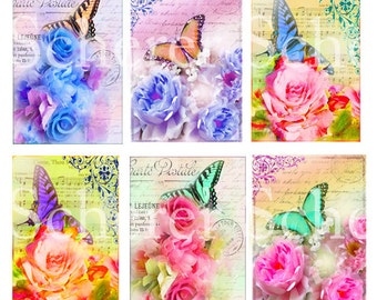 Printible Digital Collage Sheet Instant Download Graphics Shabby Rose Butterfly Gift Tags Art