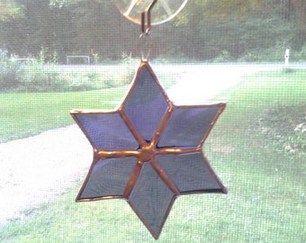 Star Sun catcher Purple ornament Stained glass  Handcrafted