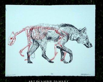 Maned Wolf - Two colored Hand printed Screen print