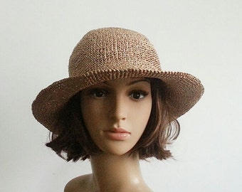 crocheted raffia straw sun hat, wide brim floppy beach hat