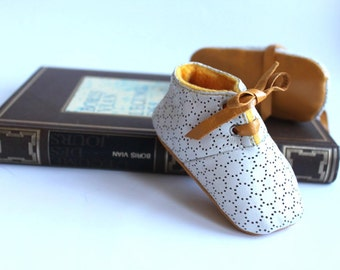 3-6 months  Slippers / Baby Shoes Lamb Leather White Mustard Yellow