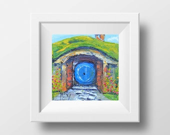 Hobbit House Print, Lord of the Rings Art, 8x8, 10x10, 12x12, Giclee,Open Edition, Signed Print, New Zealand Palette Knife Artist Lisa Elley