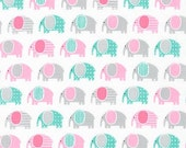 Mini Elephants Fabric - Pink, Turquoise & Gray Minis Urban Zoologie by Ann Kelle from Robert Kaufman.  AAK-15309-10