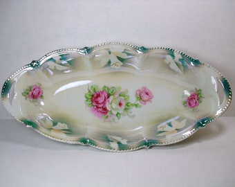 Vintage Porcelain Celery Dish - Victorian Luster Ware Dish - Floral Lusterware with Roses & Bells