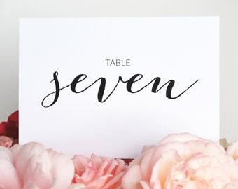 Table Numbers - Wedding Table Numbers - Printable