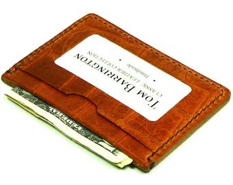 Front Pocket Credit Card & ID Wallet, Cognac Crocodile Grain Leather