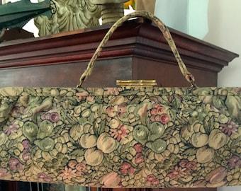 Vintage 1950s handbag in fruit and floral tapestry. Mint