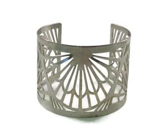 Wide Band Open Design Silver Tone Cuff Bracelet