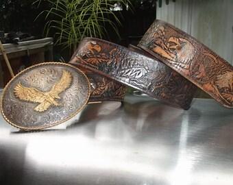 Western Eagle Leather Belt and Belt Buckle