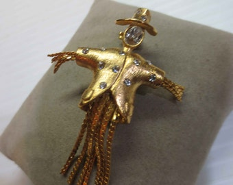 Scarecrow Brooch Gold Tone Rhinestones Art Glass
