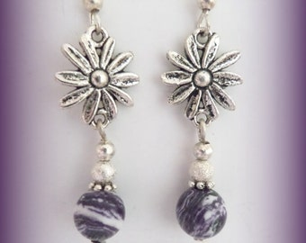 purple earrings - silver cats eye earrings (LLL004)