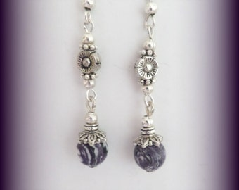 purple earrings - silver cats eye earrings (LLL005)