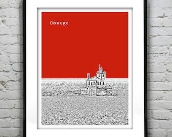 Oswego New York Skyline Poster Art Print New York NY