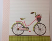 Happy Planner Cover, Bicycle White Pink Stripes, Green Plaid Gold Foil, Flower Basket, MAMBI Happy Planner Cover Set, Front and Back