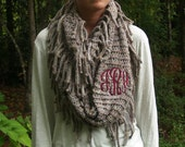 Monogrammed Knit Scarf With Fringe / Monogrammed Infinity Scarf Grey, Lavender and Gold