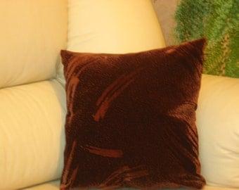 "Brown - Dark brown -  Velvet - Decorative - Luxury - Handmade - Throw pillow  - Cushion - Cover - 33 cm x 33 cm (13"" x 13"")"