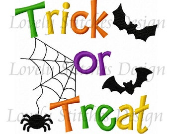 Halloween Trick or Treat Applique Machine Embroidery Design NO:0451
