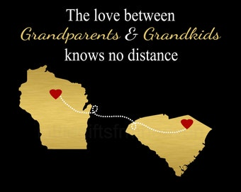 Grandparents & Grandkids Map- grandparents gift, gift from grandkids, hearts states map, mama nana papa, grandmother grandma, grandfather