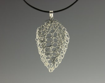 Knit Fine Silver Leaf Lace Pendant on Leather Cord