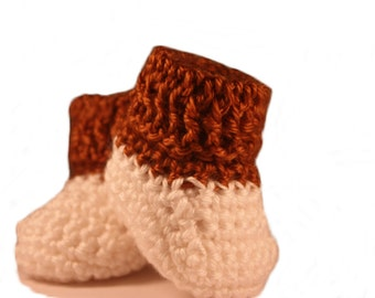 Brown and White Baby Booties - Crochet Baby Booties - Baby Boy Booties