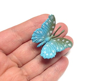 Blue butterfly ring, upcycled toy ring