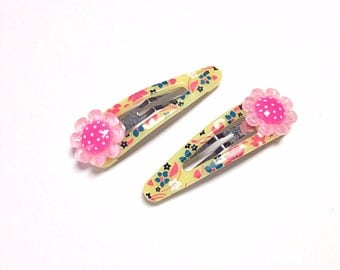 Floral hair clips, pink flower hair accessory, yellow and blue hair clips