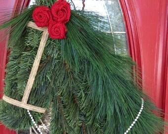 NEW Interchangable Burlap Roses Horse Wreath