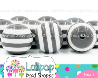 20mm GRAY & White Stripe Beads Chunky Necklace Beads Striped Resin Beads Round Plastic Stripes Bubblegum Beads Bubble Gum Beads SRB07