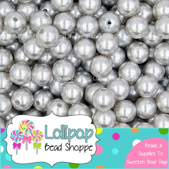 Grey Pearl Beads: 12mm GRAY PEARLS Silver Acrylic Pearl Beads Solid Round