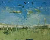 Abstract painting, original, blue and white, landscape, canvas art 39.37/27.5(100/70cm). Free shipping. Horizon Q