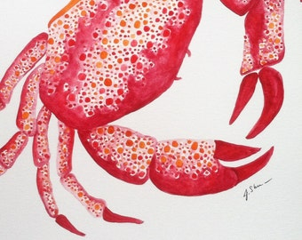 Original Crab Wall Art, Crab Watercolor Painting, Crab Art, crab Wall Decor, Ocean Art, Ocean Watercolor Painting, Beach Wall Decor