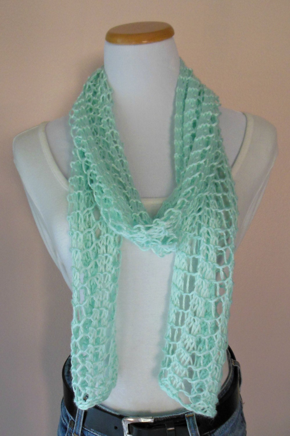 Mint Green Scarf Hand Knit Light Weight Lacy Open Weave