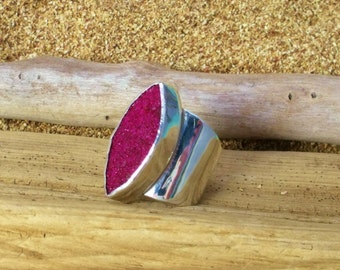 Sparkling Bordeaux Marquis Druzy Wide Banded Sterling Silver Ring