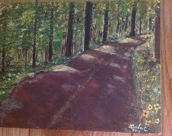 Country road original acrylic painting 9x13