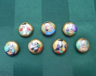 Vintage Ceramic Porcelain Hand Painted Japanese Gods of Good Fortune, Deities, Demigods, Immortals, or Poets Buttons, set of 7