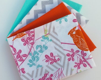 Tropical Bird Fat Quarter bundle - modern fabric bundle, Moda, Tanya Whelan, Chevron, solid fabric, modern quilt fabric, bird fabric, grey