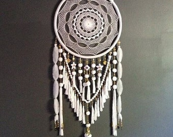 Extra Large White and Gold Beads & Jewels Dreamcatcher - Excellent Nursery Decor