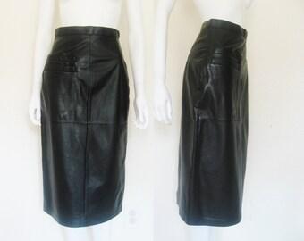 Vintage Black LEATHER High waist Skirt